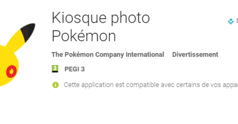 Kiosque photo Pokémon sur le Play Store !